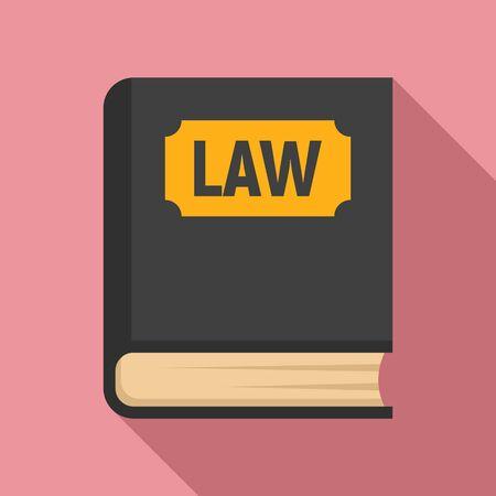 Icona del libro di legge. Illustrazione piana dell'icona del vettore del libro di legge per il web design