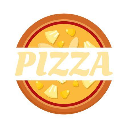 Pizza label. Flat illustration of pizza label vector logo for web design