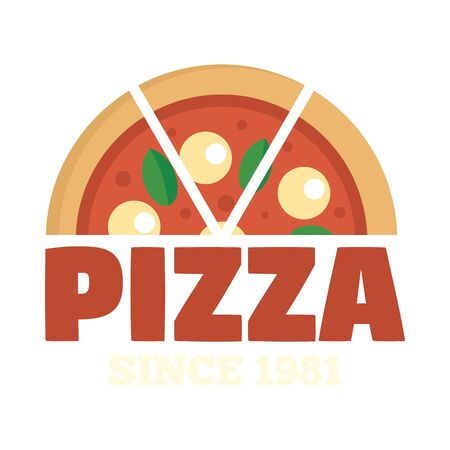 Pizza since 1981. Flat illustration of pizza since 1981 vector  for web design