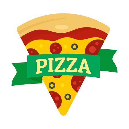 Pizza slice. Flat illustration of pizza slice vector for web design Stock Illustratie