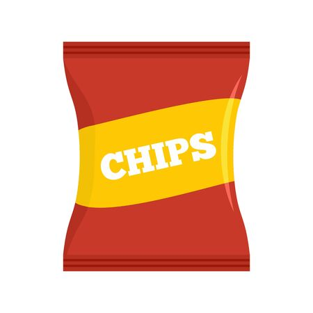 Red chips pack icon. Flat illustration of red chips pack vector icon for web design