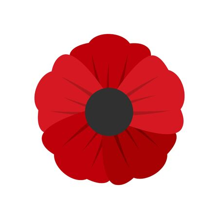 Garden poppy flower icon. Flat illustration of garden poppy flower vector icon for web design