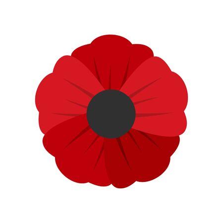 Garden poppy flower icon. Flat illustration of garden poppy flower vector icon for web design