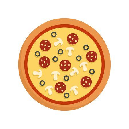 Pizza pepperoni icon. Flat illustration of pizza pepperoni vector icon for web design Stockfoto - 130010972