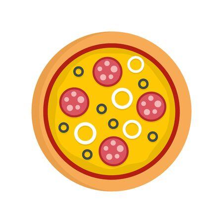 Pizza mozzarella icon. Flat illustration of pizza mozzarella vector icon for web design Stock Illustratie