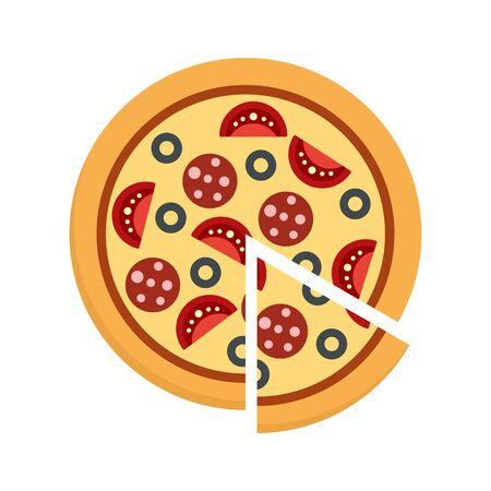 Margarita pizza icon. Flat illustration of margarita pizza vector icon for web design