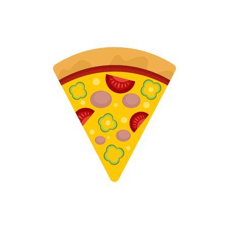 Slice pepper pizza icon. Flat illustration of slice pepper pizza vector icon for web design Stock Illustratie