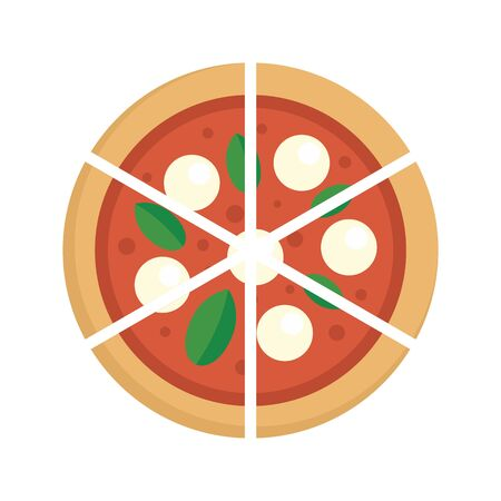 Four cheeses pizza icon. Flat illustration of four cheeses pizza vector icon for web design Illustration