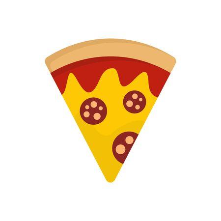 Salami pizza slice icon. Flat illustration of salami pizza slice vector icon for web design