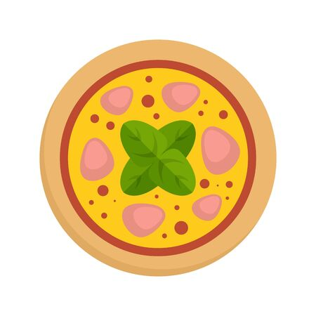 Salami meat pizza icon. Flat illustration of salami meat pizza vector icon for web design