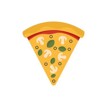 Vegan pizza slice icon. Flat illustration of vegan pizza slice vector icon for web design