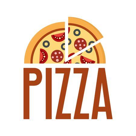 Fresh pizza  Flat illustration of fresh pizza vector   for web design