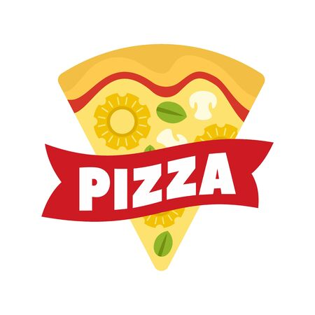 Cheese pizza slice. Flat illustration of cheese pizza slice vector  for web design