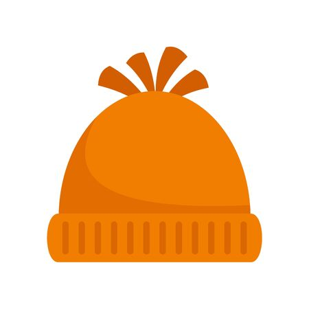 Woolen winter hat icon. Flat illustration of woolen winter hat vector icon for web design