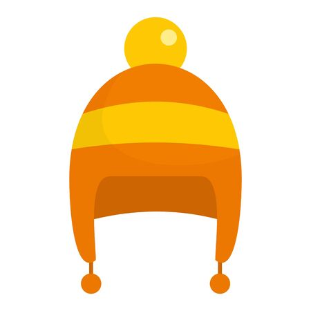 Boy winter hat icon. Flat illustration of boy winter hat vector icon for web design