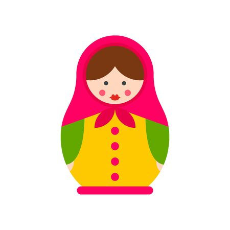 Handmade nesting doll icon. Flat illustration of handmade nesting doll vector icon for web design 矢量图像