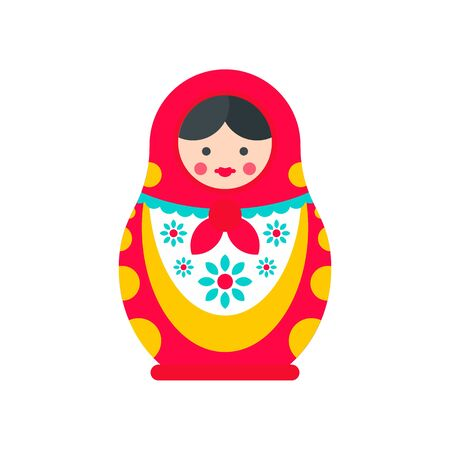 Ornate nesting doll icon. Flat illustration of ornate nesting doll vector icon for web design