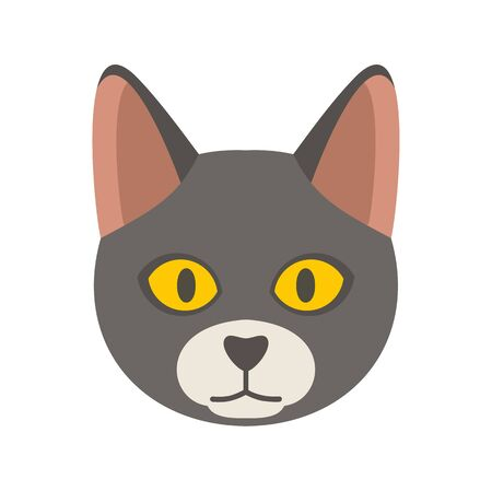 Cat head icon. Flat illustration of cat head vector icon for web design Banque d'images - 130088376