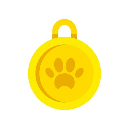 Gold dog medal icon. Flat illustration of gold dog medal vector icon for web design Banque d'images - 130088382