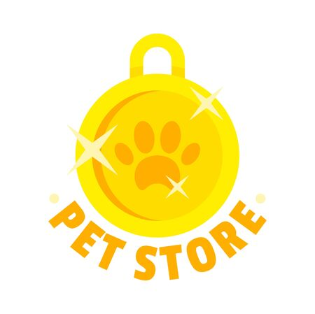 Pet store gold medal. Flat illustration of pet store gold medal vector  for web design Banque d'images - 130088410