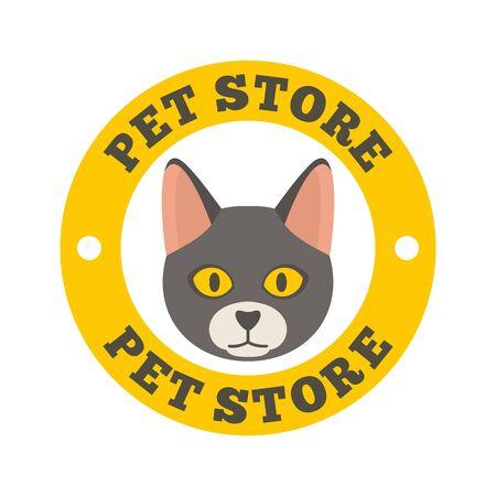 Cat pet store , flat style