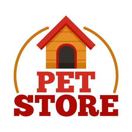 Pet store dog house , flat style Standard-Bild - 130164752