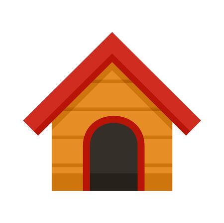 Wood dog house icon. Flat illustration of wood dog house vector icon for web design