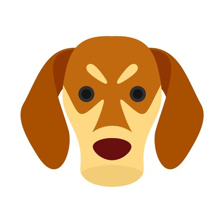 Dog face icon, flat style Illustration