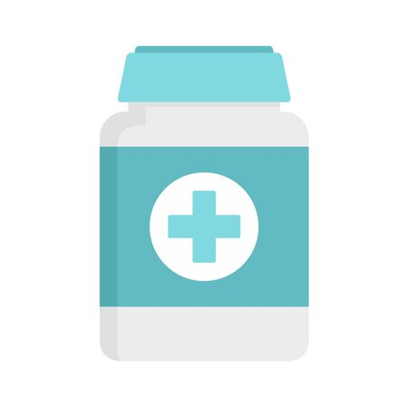 Pills box for pet icon, flat style