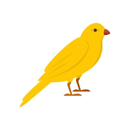 Gold song bird icon, flat style