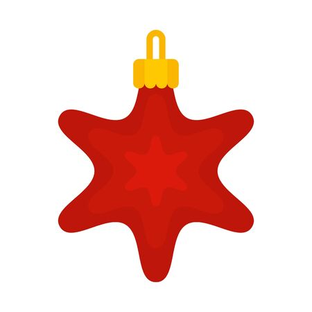 Red star xmas toy icon, flat style