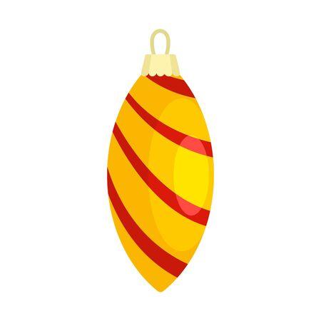 Yellow striped xmas toy icon, flat style