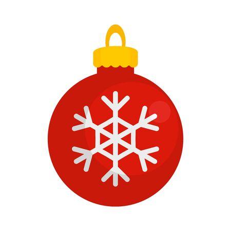 Snowflake xmas toy icon, flat style