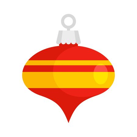 Red xmas cone toy icon, flat style