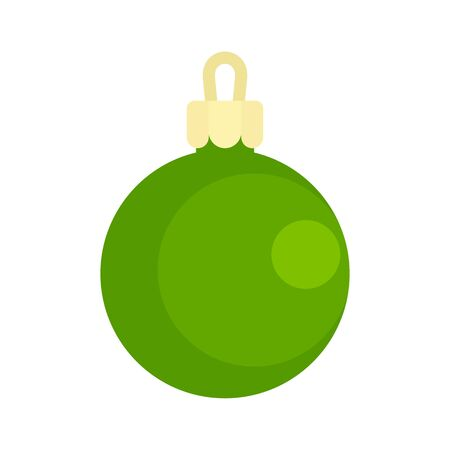 Green ball xmas toy icon, flat style