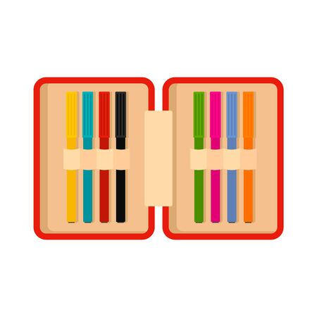 Open pencil box icon, flat style