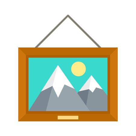 Museum art picture icon, flat style