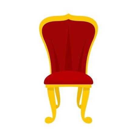 King throne icon, flat style