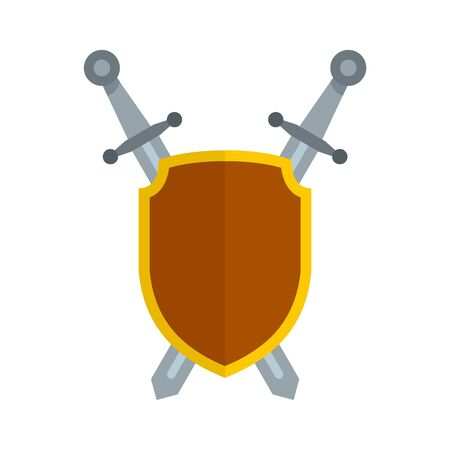 Shield and sword icon, flat style