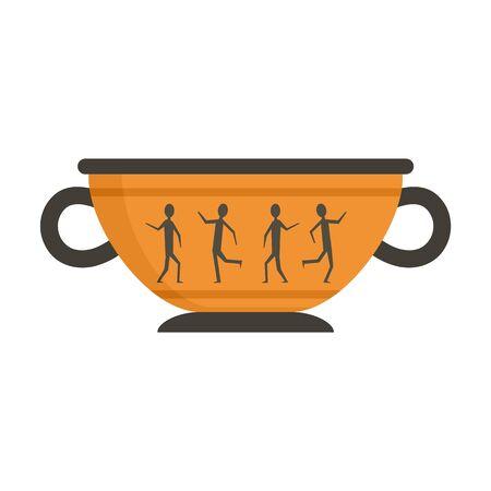 Greek ancient bowl icon, flat style