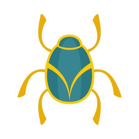 Golden bug icon, flat style Illusztráció