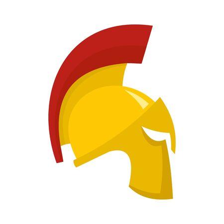 Gold sparta helmet icon, flat style