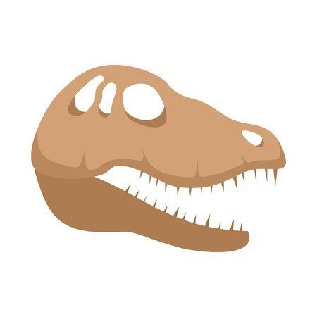 Dinosaur skull head icon, flat style Illustration