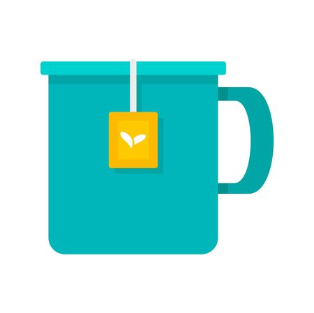 Hot tea mug icon, flat style 版權商用圖片 - 130164135