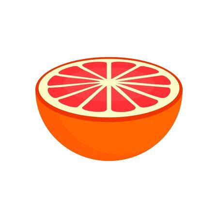 Half of grapefruit icon, flat style Illusztráció