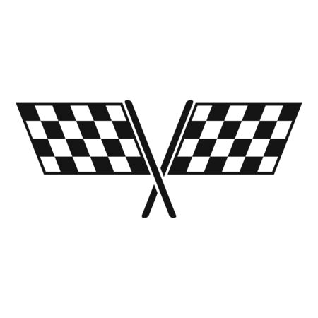 Crossed racing flags icon, simple style