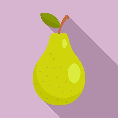 Autumn pear icon, flat style