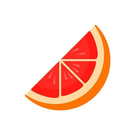 Piece of grapefruit icon. Flat illustration of piece of grapefruit vector icon for web design Çizim