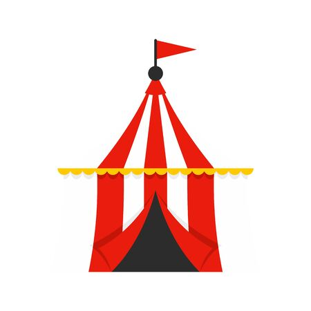 Circus tent icon. Flat illustration of circus tent vector icon for web design