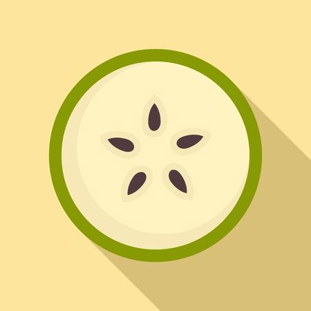 Section pear icon, flat style Vektorové ilustrace